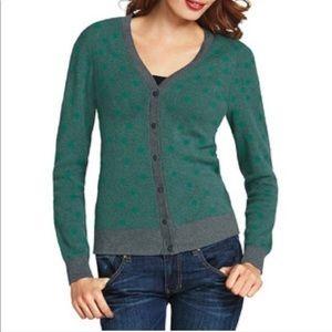 CAbi Green Polka Dot Cardigan Sweater Style 903